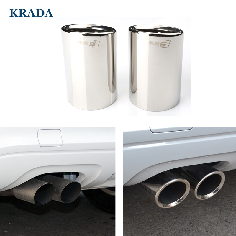 1 Set Car Exhaust Muffler Tip Car Styling for Audi A6 C5 C6 C7 A5 Q7 Sline Auto Stainless Muffler Pipe Turbo Sound Whistle yb032902 diy car aluminum alloy turbo sound whistle effect for exhaust pipe silver size xl