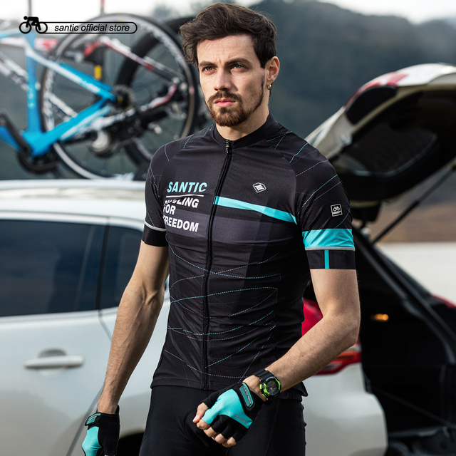 Santic Men Cycling Short Jersey Pro Fit Two Colors Antislip Sleeve Cuff  Road Bike MTB Short Sleeve Breathable Jerseys K7M2026