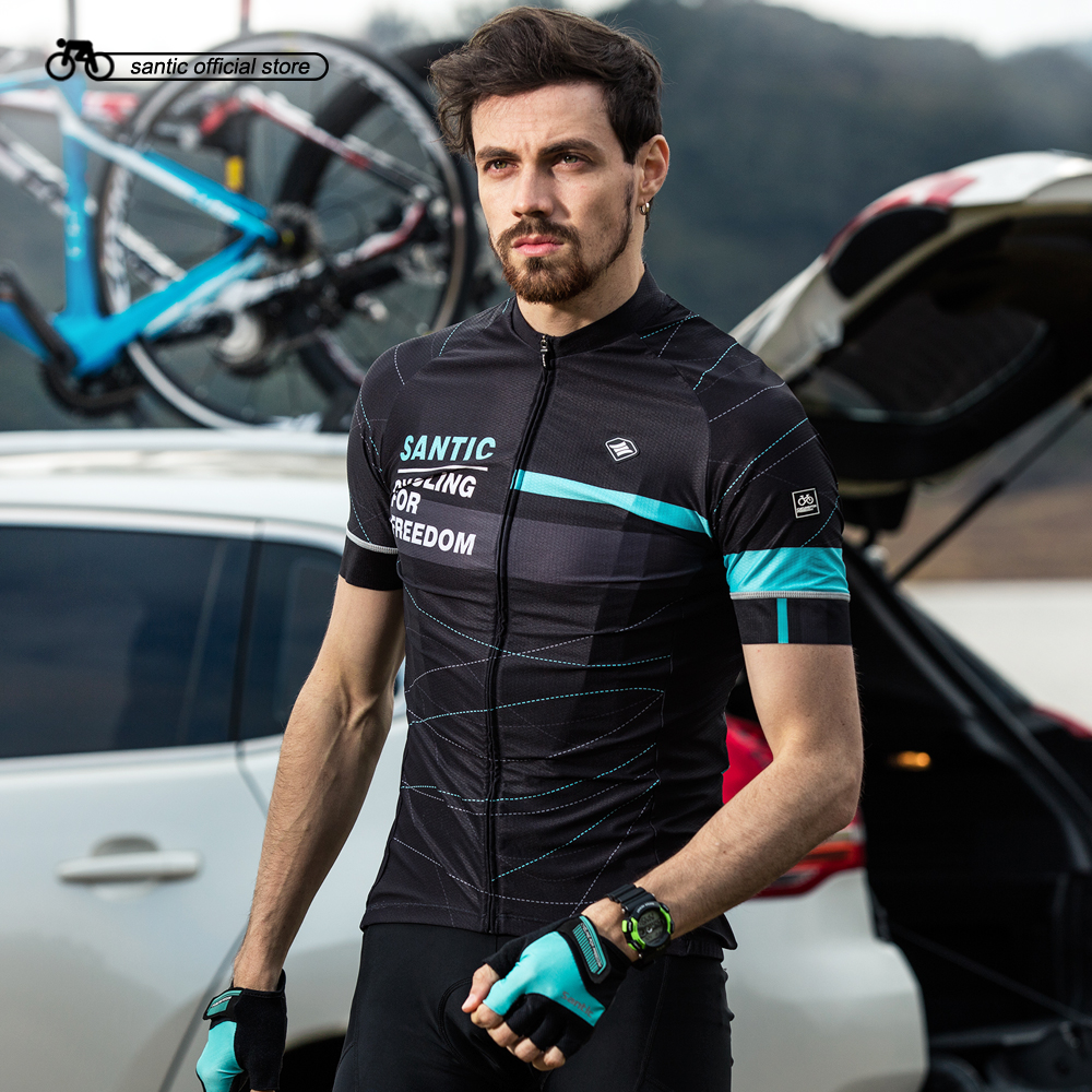 Santic Hommes Cyclisme Manches Courtes Jersey Pro Fit Deux Couleurs Antidérapant Manchette Vélo De Route VTT À Manches Courtes Respirant Maillots K7M2026