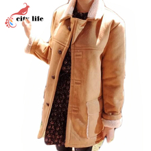 Single Breasted Suede Jackets Woman Winter ,Long British Fur Lining Coat, Female Warm Leather Coat Top Camel