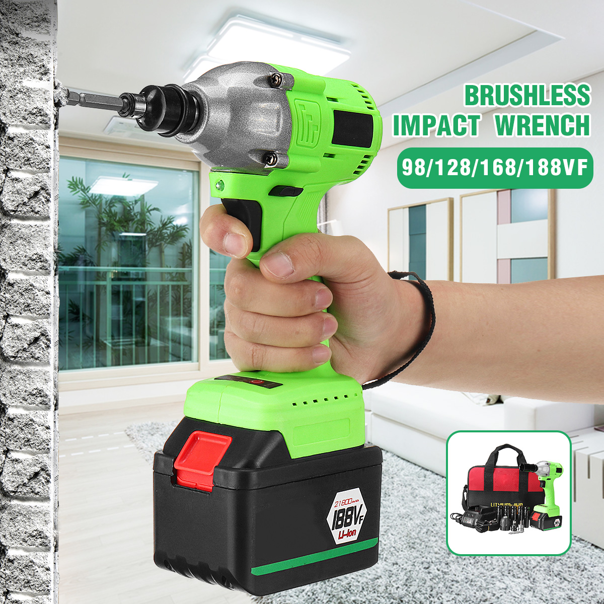 460Nm Electric Impact Wrench 3300RPM Rechargeable Li-Ion Battery Electric Brushless Wrench Cordless Home Hand Power Tool electric impact wrench 98 128 168 188vf electric brushless li ion battery wrench 10mm chuk with box cordless speed control power