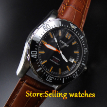 Parnis black dial Sapphire glass Ceramic Bezel WATER RESISTANT 200m automatic diver mens watch