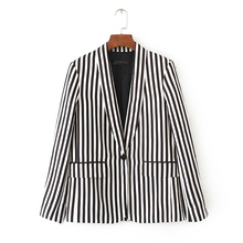 2017 Autumn Women Black White Striped Office Work Pockets Blazer Jacket Female Notched Long Sleeve Single-breasted Coat Tops
