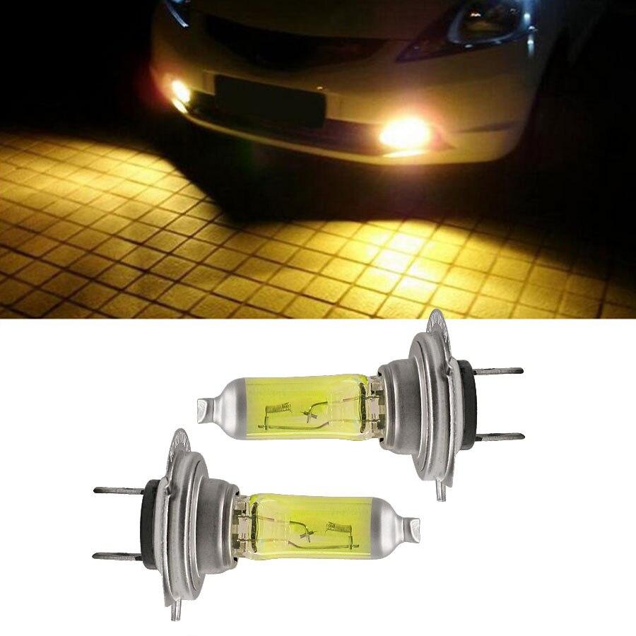HYZHAUTO 2Pcs H7 Nebel Lampe Lampen 55W 100W 3200 K-3500 K Auto Halogen Kopf Fahren nebel Licht Bernstein/Goldene Gelb Farbe DC12V