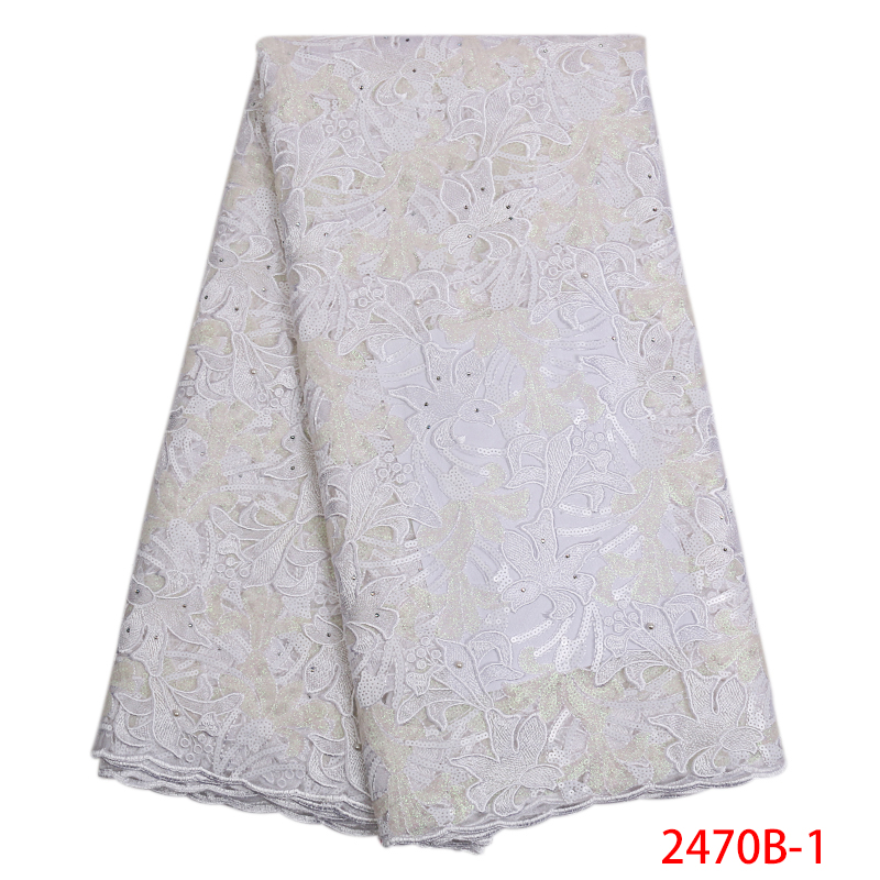 African Lace Fabric 2019 High Quality Lace Latest Tull Lace Fabrics Nigerian Net Lace With Sequins For Wedding KS2470B-1