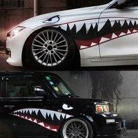 1 пара красно-серая Светоотражающая наклейка с зубами акулы, виниловая Автомобильная классная наружная Декаль для боковой двери автомобиля