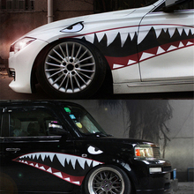 1 Pair Red Grey Shark Mouth Tooth Teeth Reflective Sticker Vinyl Auto Car Cool Refiting Exterior Decal For Side Door Car Styling
