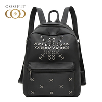 Coofit Rivet Design Backpack For Women Girls Fashion for Student Backpack School Bag Schoolbag For College Students Youth