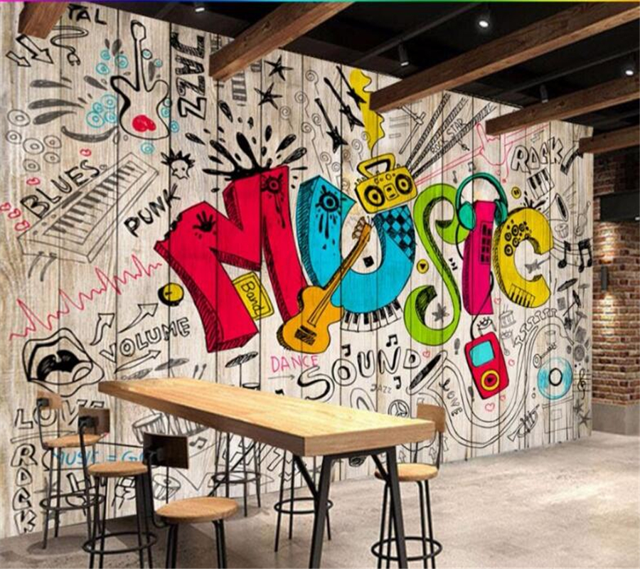 Wellyu Custom Wallpaper 3d Photo Mural обои Ancient Hooks Handmade Graffiti Music Bar Cafe TV Background Wall 3d Papel De Parede