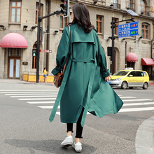 green 2018 Autumn New Khaki Women Trench Coat Long Windbreaker Fashion