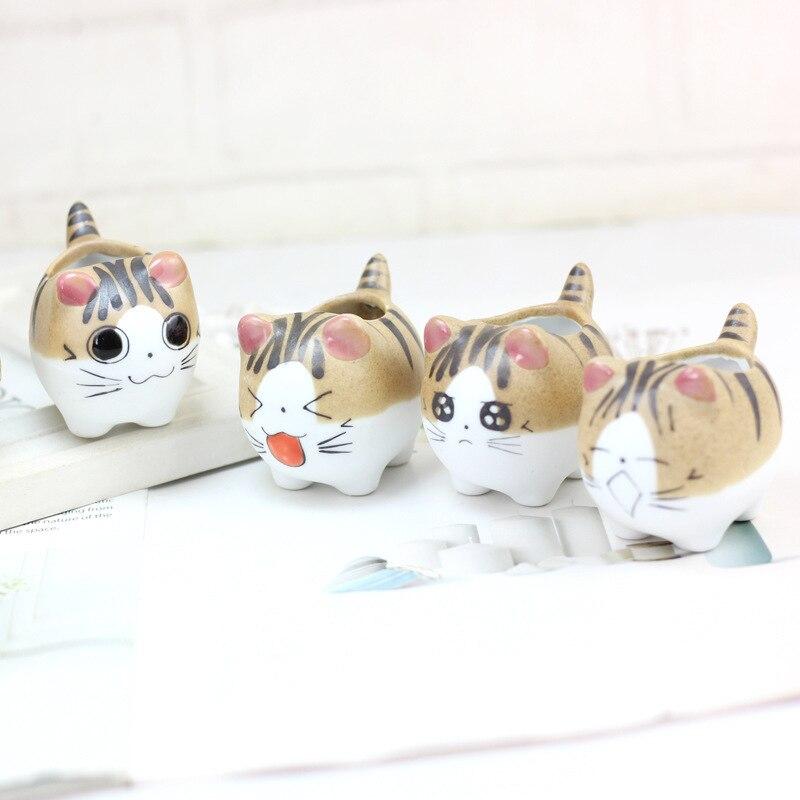 Chi's Sweet Home Cat Pattern Cartoon Ceramics Flowerpot Succulent Plants Kitty Flowerpot Home Garden Bonsai Pots Home Decoration