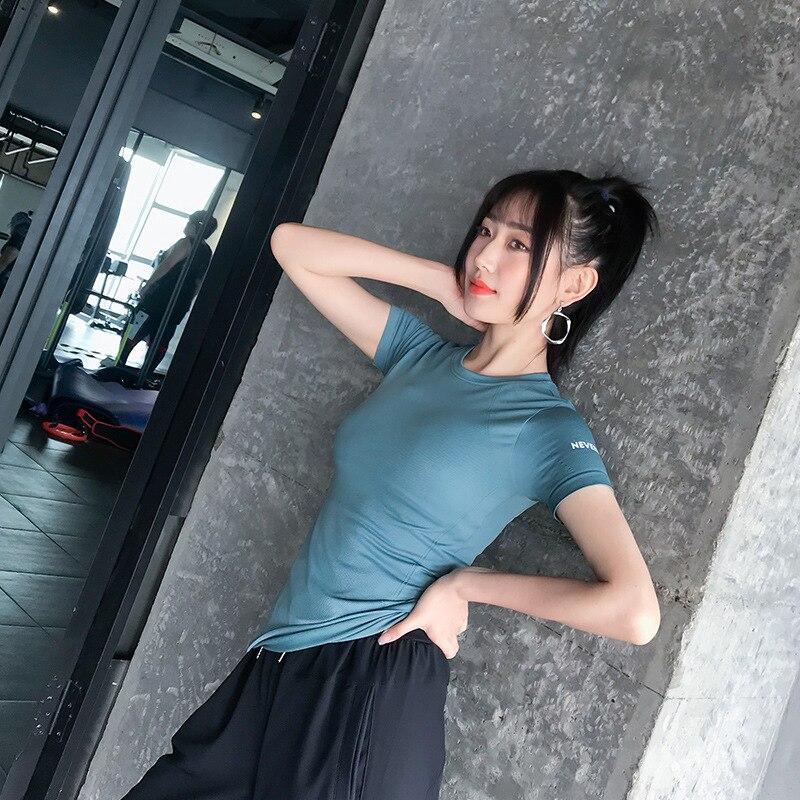 @1  Спортивная рубашка Summer Thin Section Fitness с короткими рукавами быстросохнущая Бег Тренировка Же ★