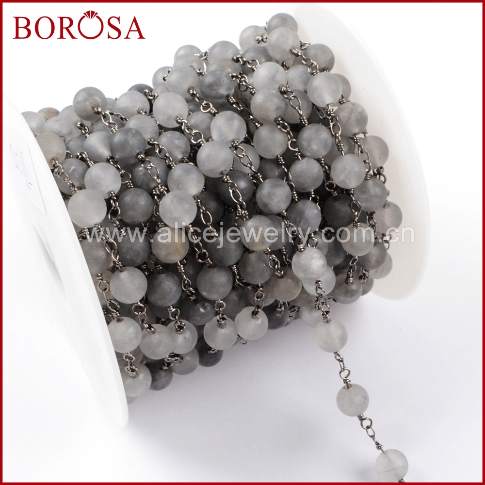 BOROSA 5Meters Gold Color Matte Gray Agates Roundel Faceted Beads Rosary Chain Fashion Beaded Chains for