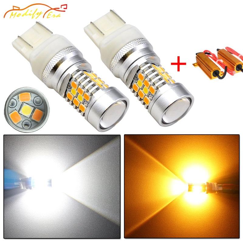 Modify.Era 2pcs 7443 7444NA T20 Car Canbus Error Free LED Bulbs For DRL Turn Signal Light Dual-Color Switchback 28-SMD Led Light
