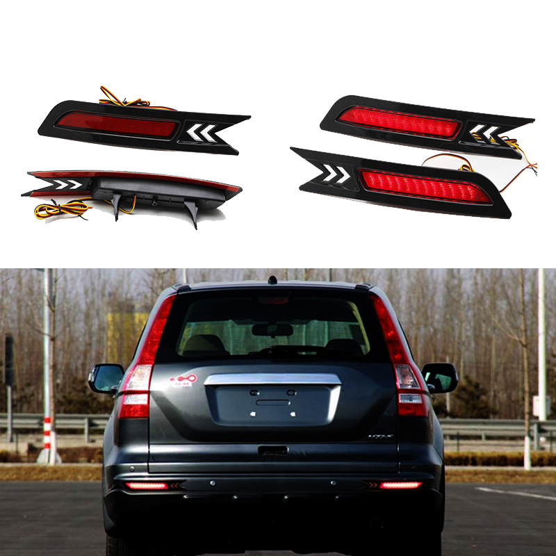 Car-styling For Honda CRV 2010 2011 Reflector LED Back Tail Rear Bumper Light Brake Lamp Stop Warning Light led rear bumper warning lights car brake lamp cob running light led turn light for honda civic 2016 one pair