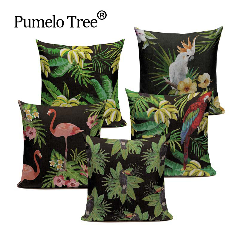 Cheap Summer Style South East Asia Tropical palm plant Plants And Birds 45Cmx45Cm Square Home Sofa Car Printed Pillow Cover