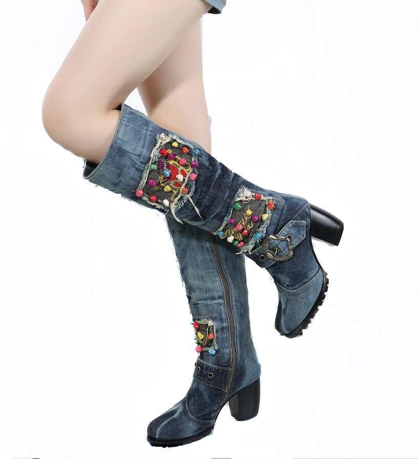 Talons Latérale Denim Chaussures 2017 Bottes Martin D'hiver Hauts Nouveau Glissière Le Antidérapant Avec Mode Bleu Toile clair Des Ciel Confortable pu ZEFz57qx