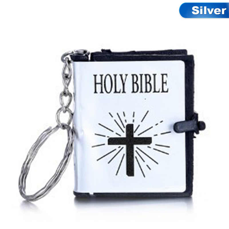 Cute Mini English Religious Christian Jesus HOLY BIBLE Keychains Cross Keyrings