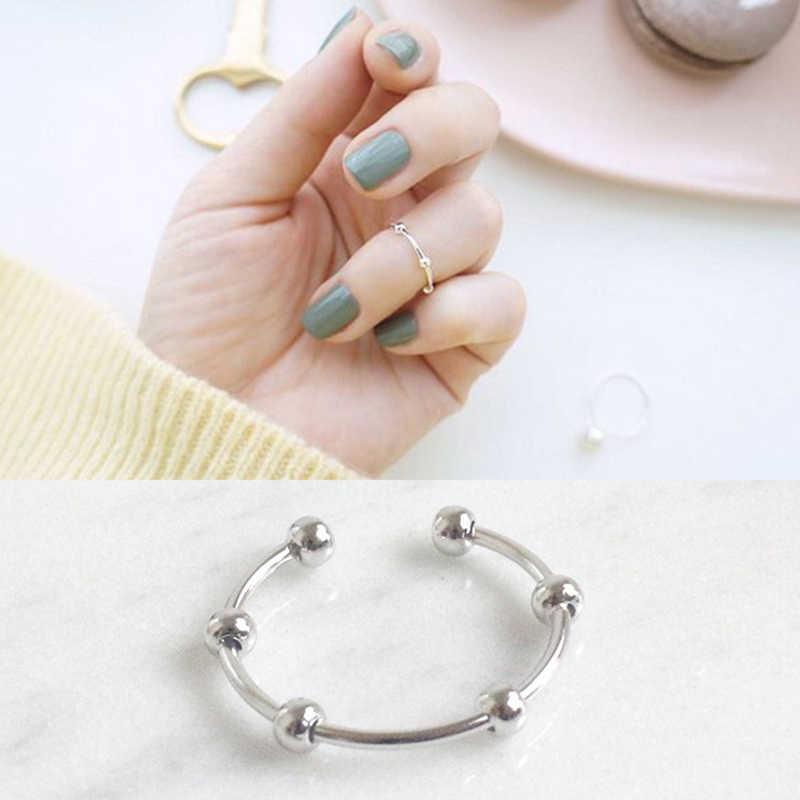 BALMORA серебряные бусины 925 пробы с открытым хвостом кольца для женщин для возлюбленной Простой моды ювелирные изделия Anillos JWHFHR205