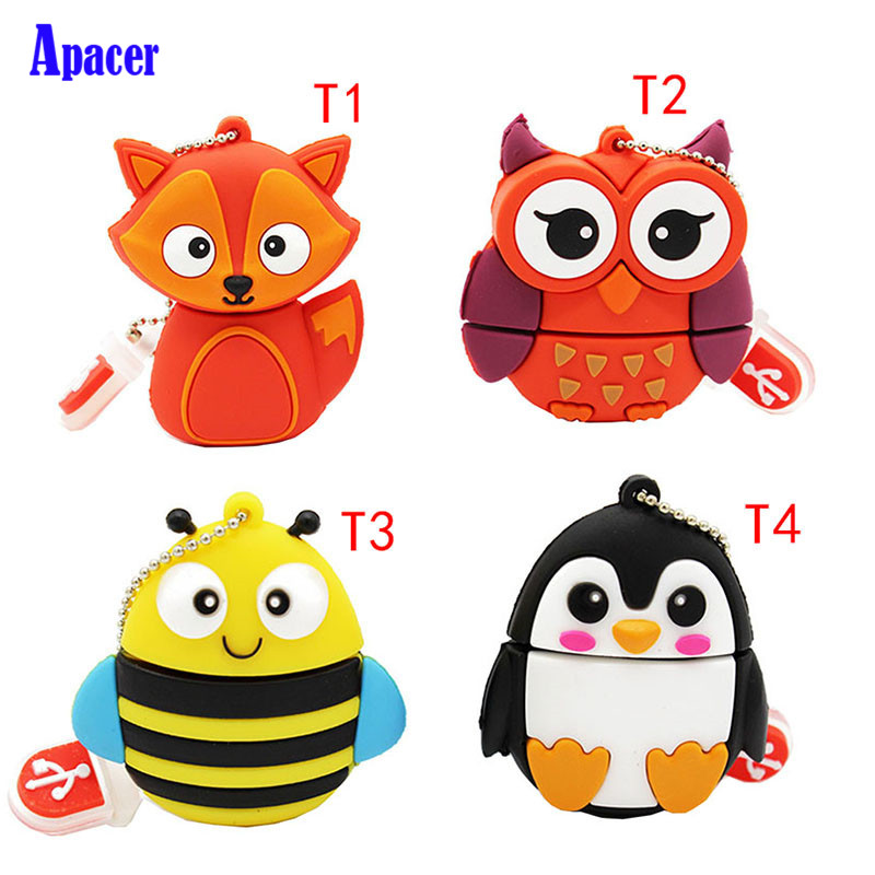 Apacer cute animal penguin owl fox pen drive 8GB 16GB 32GB cartoon usb flash drive pendrive cute pig style stainless steel usb 2 0 flash drive silver black 8gb