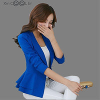 728 2014 Autumn Long Sleeve Slim Blazer Ruffle Short Blazer Design Candy Color