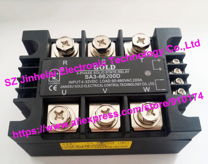 New and original SA366200D SA3-66200D GOLD 3-PHASE Solid state relay 4-32VDC,90-660VAC 200A new and original sa34080d sa3 4080d gold solid state relay ssr 480vac 80a
