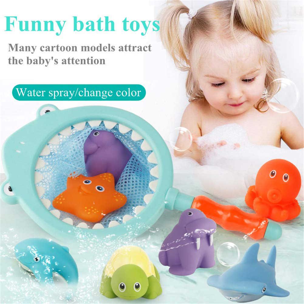 19 unids/set Animal muñeca tiburón red de pesca Squeaky aspersor bebé squeak baño juguete padres-niños juguetes interactivos juego al aire libre juguete