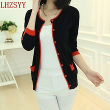 2014 Autumn new Slim small fresh round neck cashmere sweater knit cardigan jacket sleeves collision color