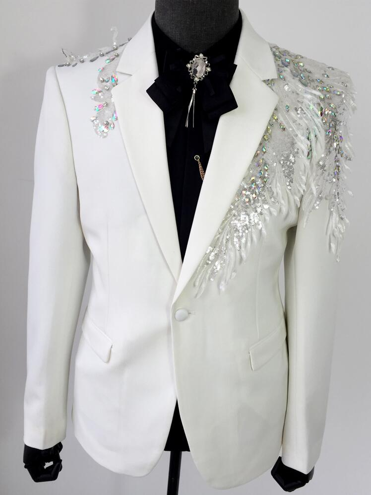 Manual dress men suits designs masculino homme stage costumes for singers men sequin blazer clothes slim jacket star style white