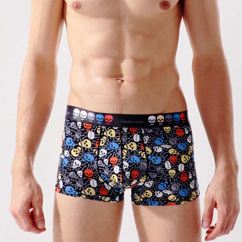 3c21a9ba6a4f Cartoon Mens Underwear Ice Silk Breathable Male Boxer Shorts Fashion Skull  Footprint U Convex Man Thin