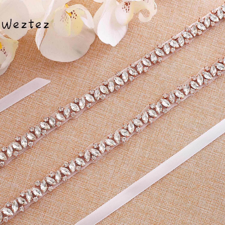Rose Gold Diamond Bridal Sash Wedding Belt Crystal Rhinestones Bridal Belt  For Wedding Gown SD135RG