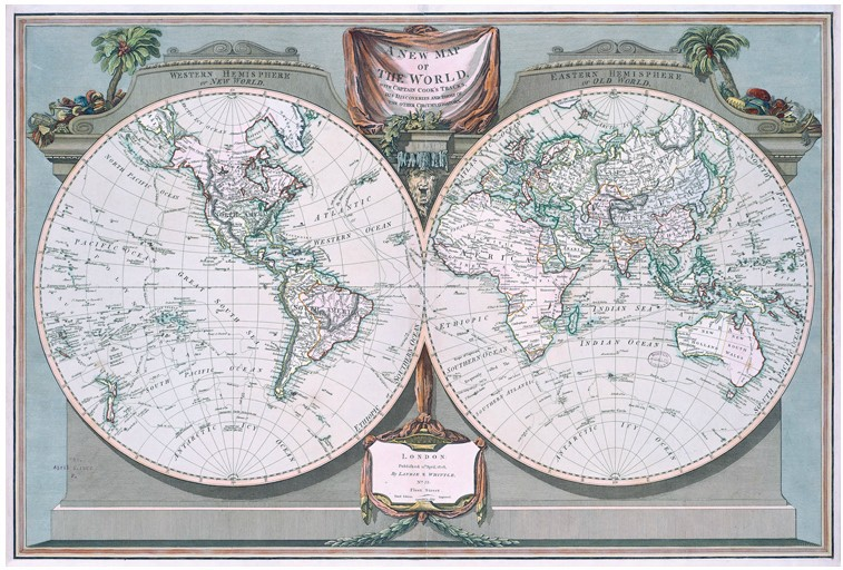 Captain Cooks World Map of 1794, Home/Office Decoration Canvas Sailing Map, Frameless Wall Hanging Decorative Paintings
