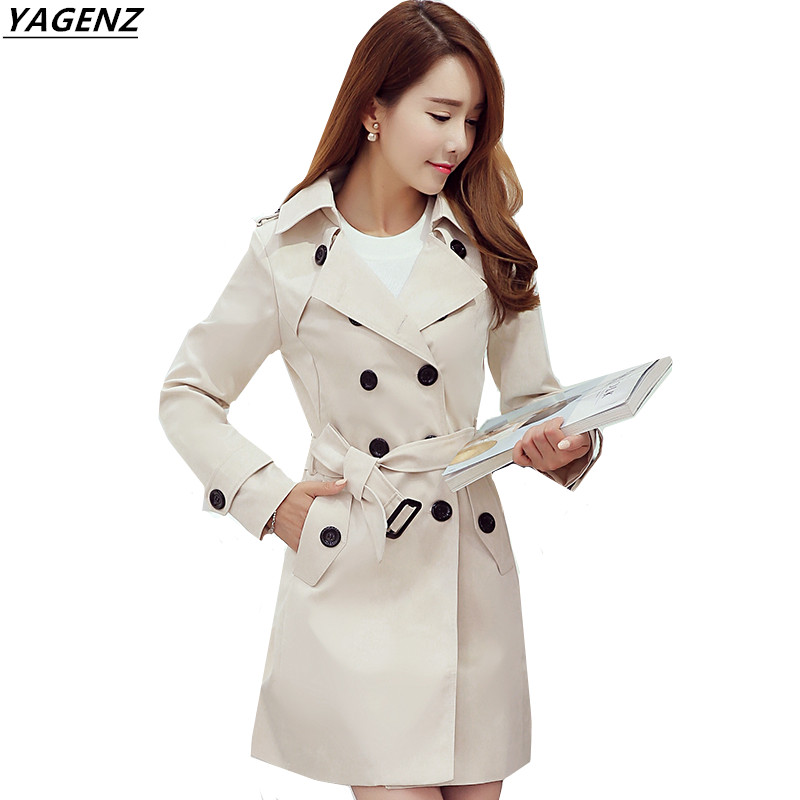 Female Windbreaker 2017 Spring Autumn New Double-breasted Medium Length   Trench   Coat Pure Color Cozy Women's clothing YAGENZ A141