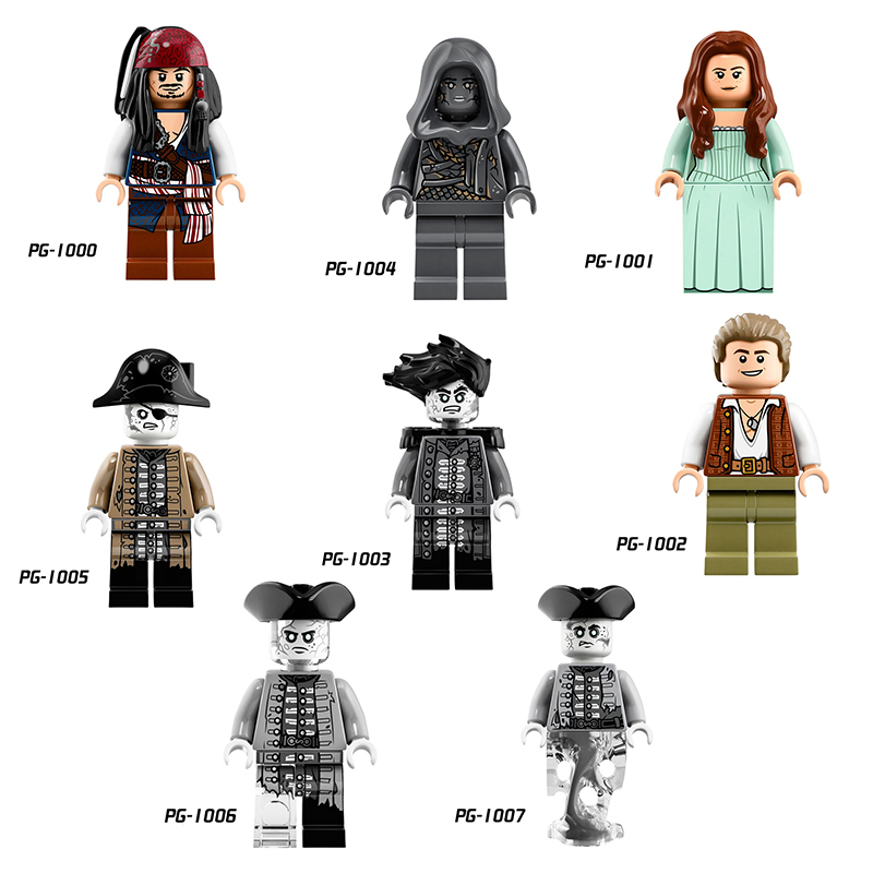 Single Building Block Captain Pirates of The Caribbean Jack Sparrow Classic Movie Figure Building Blocks Models Bricks Toys Kids