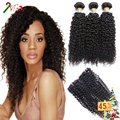 8A Brazilian Human Hair With Closure Brazilian Kinky Curly 3 Bundles Brazilian Kinky Curly Hair With Closure Tissage Bresilienne