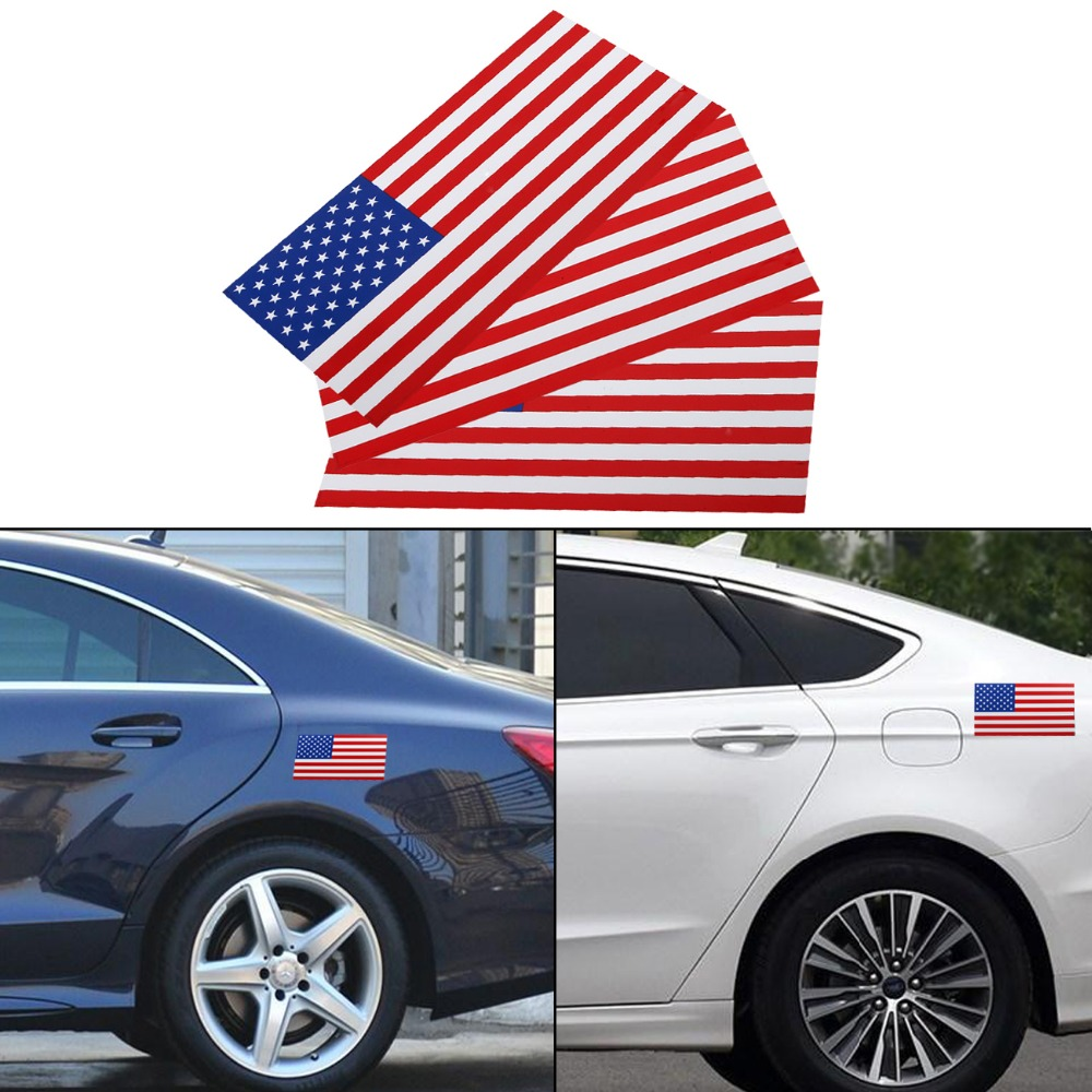 3PC 0.6mm Thick 7.5x4 Removable Magnetic Signs USA American Flag Auto Body Decal Outdoor Car Stickers on Left #SGB-10-3-HL