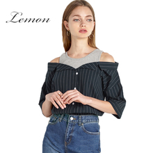 Lemon Striped Off Shoulder Shirt Blouse Women Cute Elegant Top Blouses Female Vintage Casual Basic Top Ladies