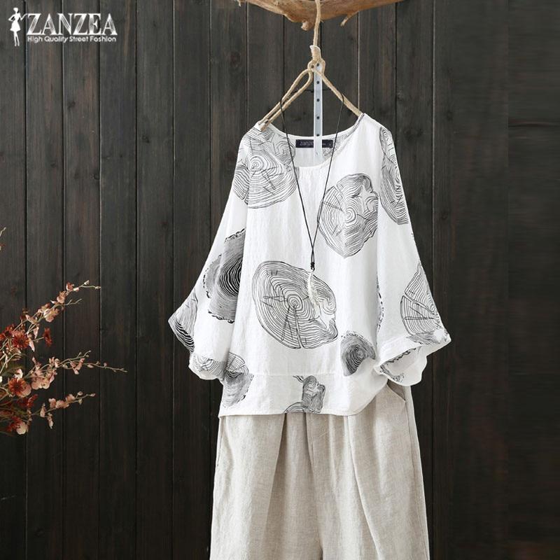 Fashion  Sleeve Tops Women's Summer Blouse ZANZEA 2020 Casual Printed Blusas Vintage O Neck Tunic Plus Size Woman Chemise