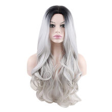 Wigs for Ladies Sexy Gradient Gray Party girls Wigs Long Curly Mixed Colors Synthetic Wigs For Women wholesale dropshipping 2018(China)