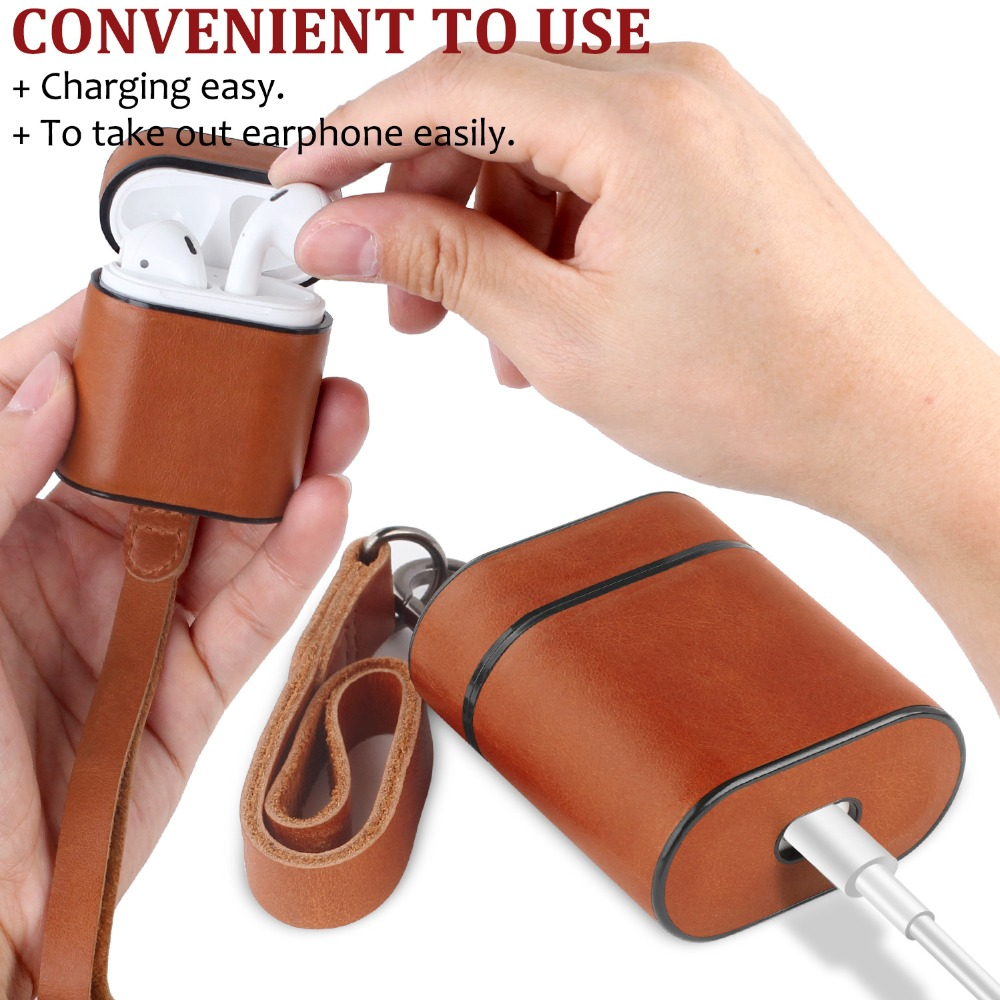Earphone Case For Apple Airpods 2 Accessories For iPhone AirPods Case With Keychain Luxury Leather Lanyard PU Earphone Cover