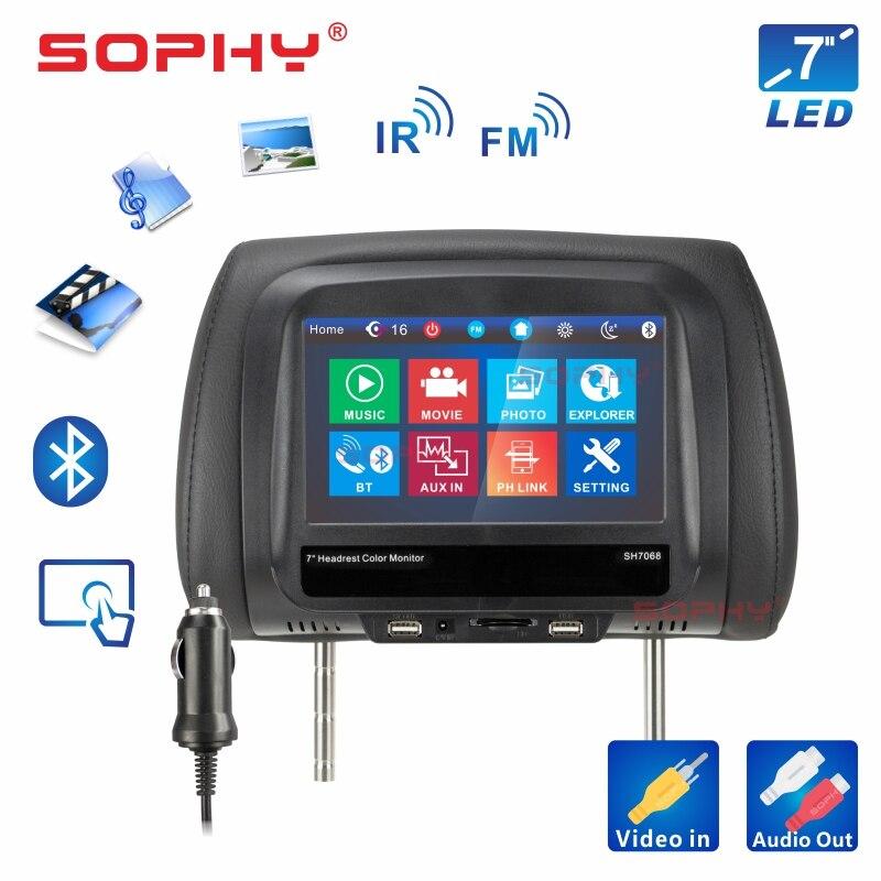 Новинка! 8 дюймов автомобильный подголовник монитор MP4/MP5 видео плеер подушка монитор с ик FM сенсорный экран телефон зарядка SH8068-P5 - Цвет: 7068MP5-Black