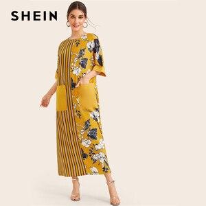 Image 4 - SHEIN Sarı Çizgili Ve Çiçek Baskı Cep Yamalı Zarif Tunik Elbise Kadınlar 2019 Yaz Yarım Kollu Bayan Maxi Elbiseler