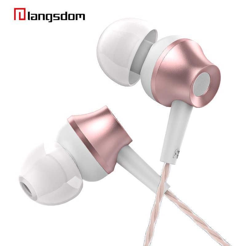 Langsdom M299 3.5mm douszne metalowe słuchawki różowe złoto słuchawki douszne z mikrofonem czysty dźwięk mocny bas oryginalny wysokiej jakości dla Xiaomi