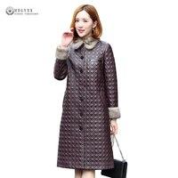Real Leather Jackets Women 2018 Winter New Mink Fur Collar Sheepskin Coat Long Outerwear Female Genuine Leather Overcoat OK1186
