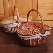 KINGART Wicker Camping Picnic Basket Handmade Storage Food Bread Box Willow Bread Bins Woven Straw Basket  With Wood Color