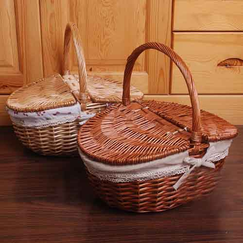 Wicker Picnic Basket With Lid and Handle Food Bread Picnic Basket Hamper Woven Bamboo Fruit Storage Basket