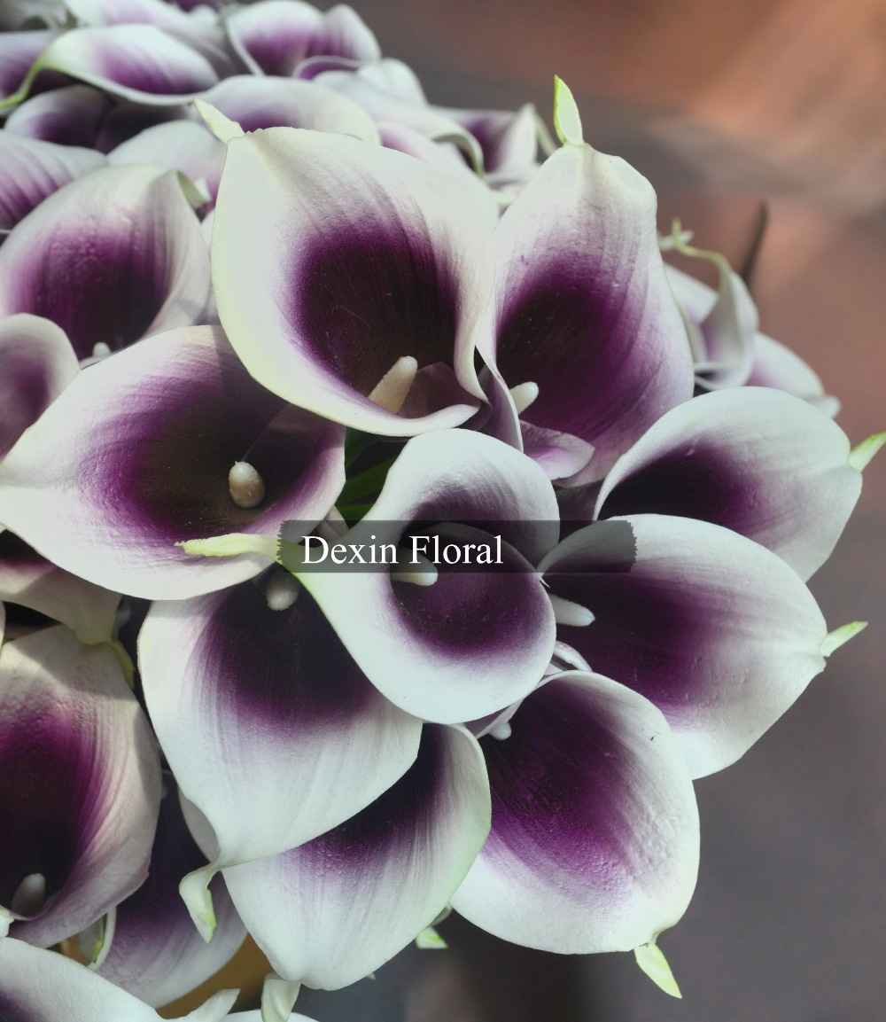Purple Picasso Calla Lily Real Touch Flowers For Wedding Bouquets In