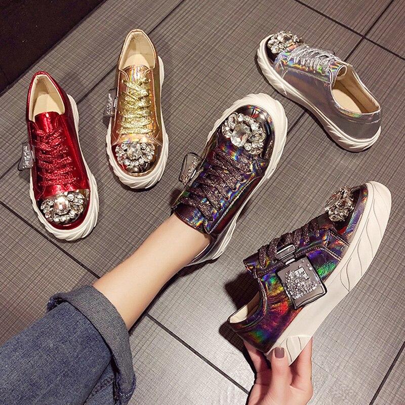 Ry-relaa femmes baskets chaussures pour femmes européennes printemps nouvelles chaussures en strass femmes ins tide chaussures plates chaussures de sport