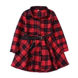 Image 5 - 2018 우아한 여자 캐주얼 긴 소매 격자 무늬 셔츠 복장 벨트 패션 틴 에이저 블라우스 드레스 4 5 6 7 8 9 10 11 12 13 년