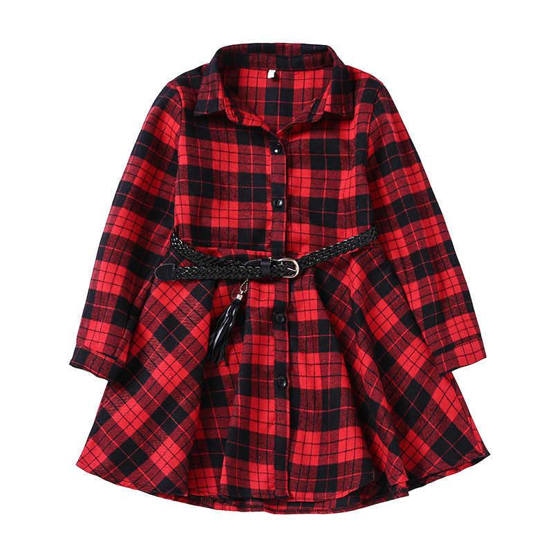 2018 Элегантное повседневное клетчатое платье-рубашка с длинными рукавами и поясом для девочек, модная блузка для подростков, платья, От 4 до 13 лет